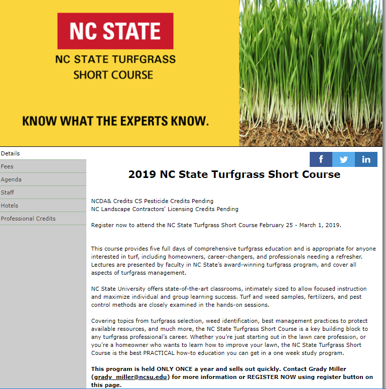 NC State Turfgrass Short Course flyer image