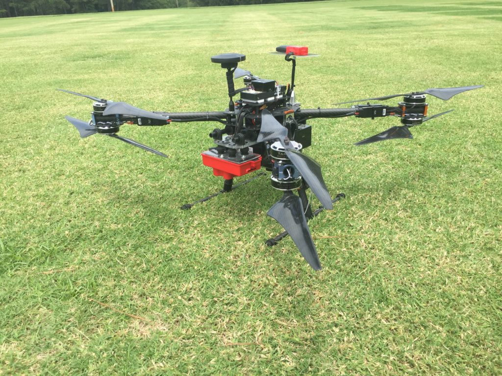 drone over turfgrass